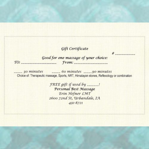 Personal Best Massage Gift Certificate